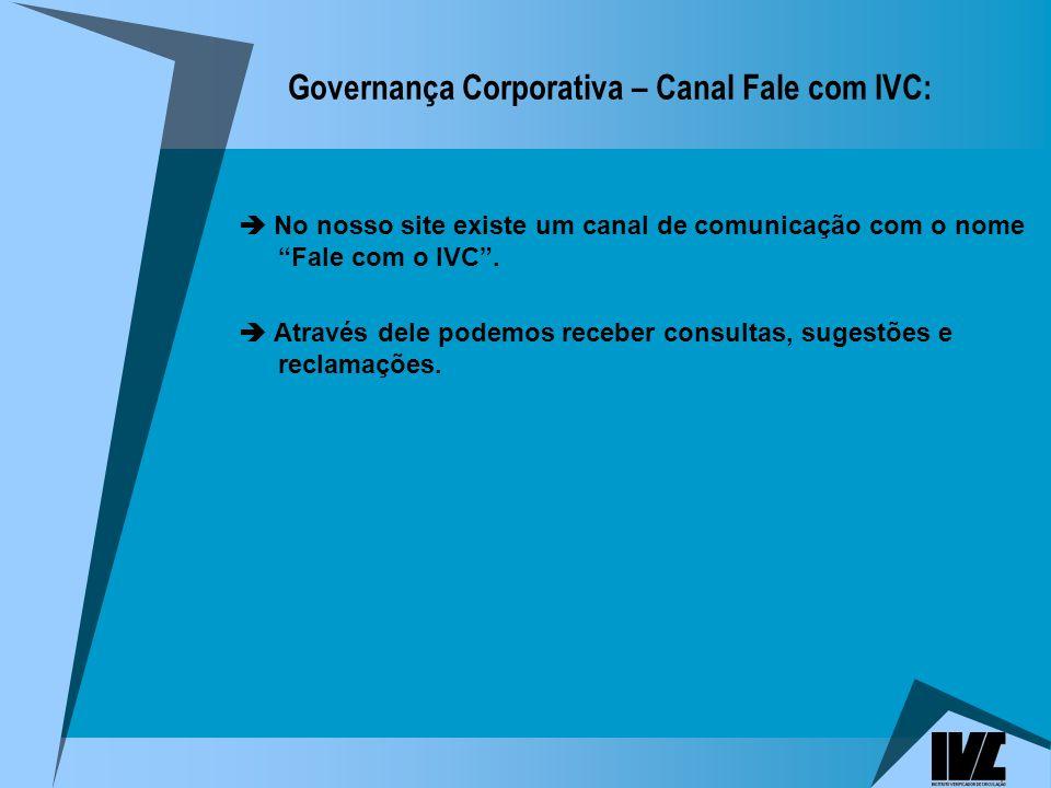 Governança Corporativa – Canal Fale com IVC: No nosso site existe um canal de comunicação com o nome Fale com o IVC.
