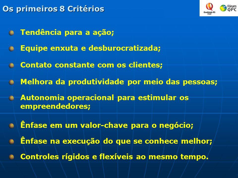 Tendência para a ação; Os primeiros 8 Critérios Equipe enxuta e desburocratizada; Contato constante com os clientes; Melhora da produtividade por meio