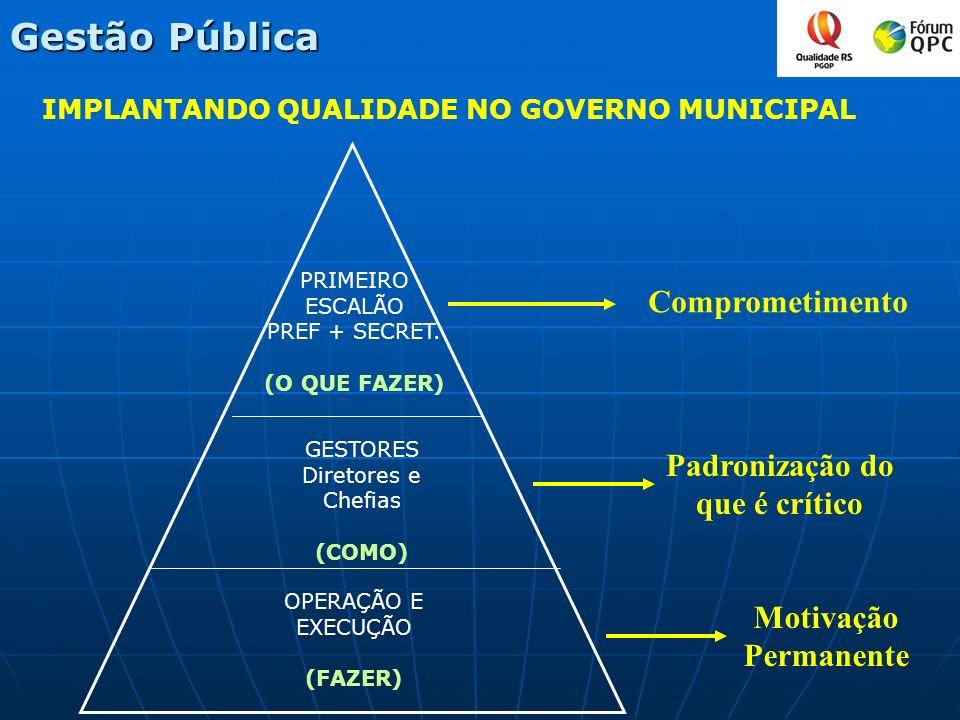 IMPLANTANDO QUALIDADE NO GOVERNO MUNICIPAL PRIMEIRO ESCALÃO PREF + SECRET. (O QUE FAZER) GESTORES Diretores e Chefias (COMO) OPERAÇÃO E EXECUÇÃO (FAZE
