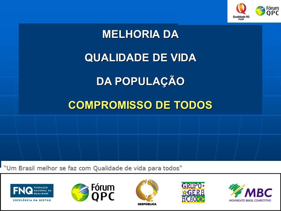 0 MELHORIA DA QUALIDADE DE VIDA DA POPULAÇÃO COMPROMISSO DE TODOS Um Brasil melhor se faz com Qualidade de vida para todos