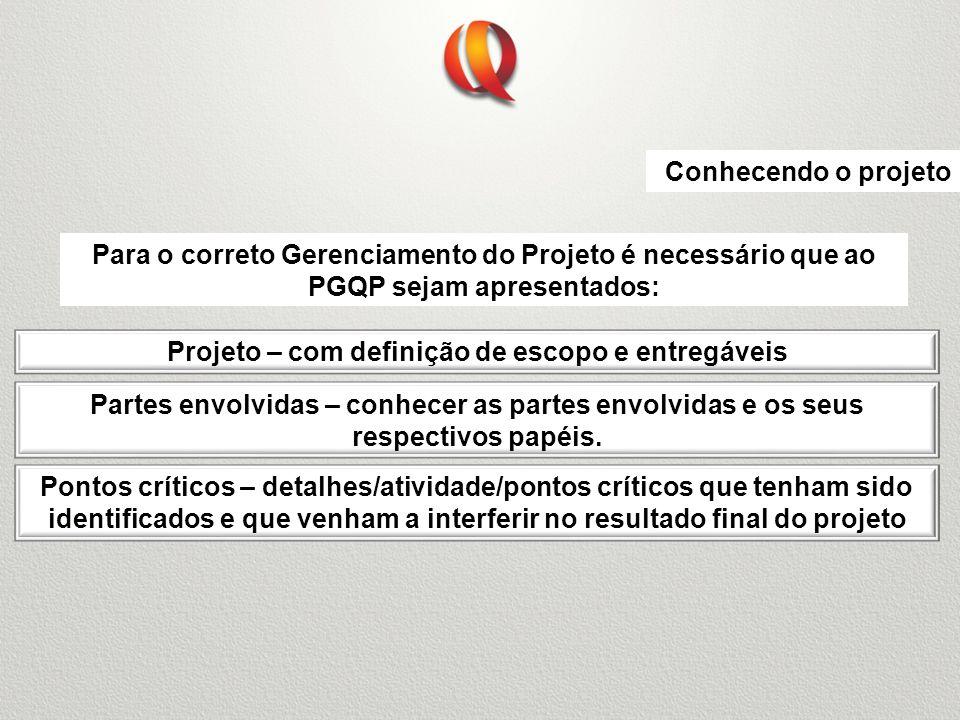Projeto – com definição de escopo e entregáveis Conhecendo o projeto Para o correto Gerenciamento do Projeto é necessário que ao PGQP sejam apresentad