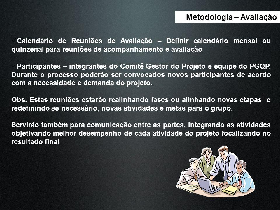 Metodologia – Avaliação Calendário de Reuniões de Avaliação – Definir calendário mensal ou quinzenal para reuniões de acompanhamento e avaliação Parti