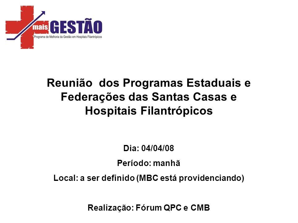 Reunião dos Programas Estaduais e Federações das Santas Casas e Hospitais Filantrópicos Dia: 04/04/08 Período: manhã Local: a ser definido (MBC está p