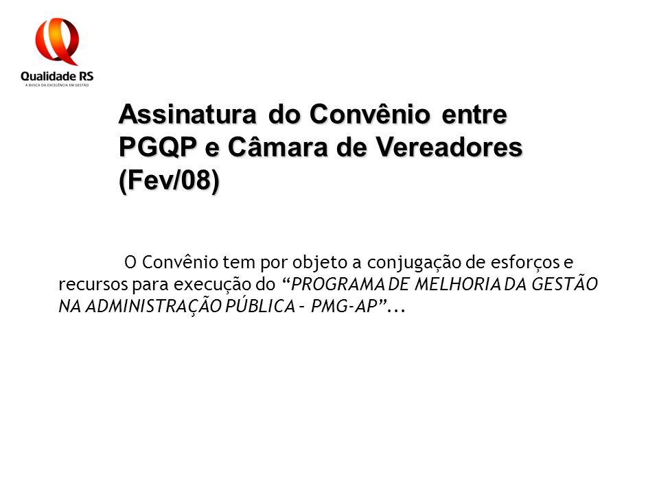 Assinatura do Convênio entre PGQP e Câmara de Vereadores (Fev/08) O Convênio tem por objeto a conjugação de esforços e recursos para execução do PROGR