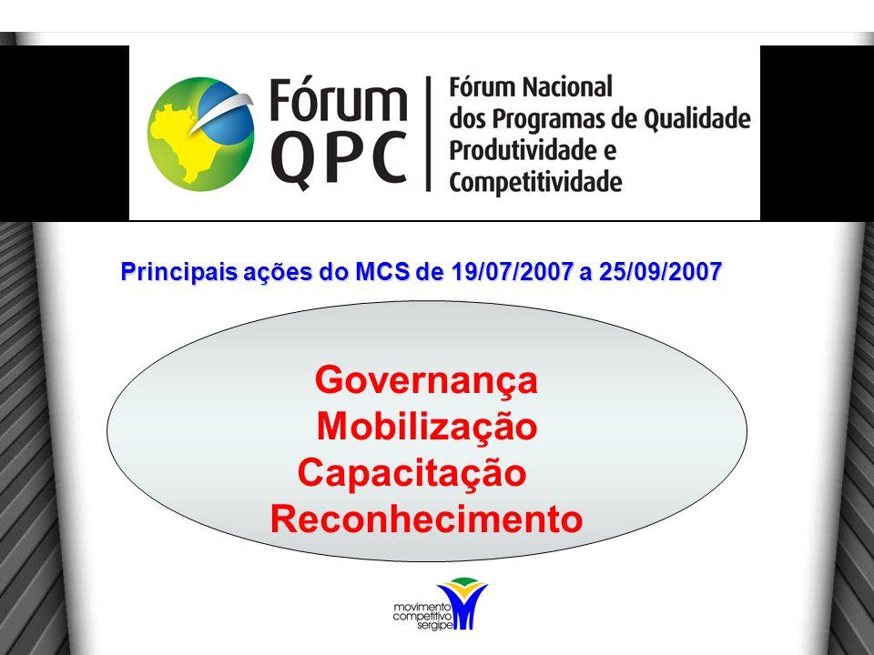 Governança Mobilização Capacitação Reconhecimento Principais ações do MCS de 19/07/2007 a 25/09/2007