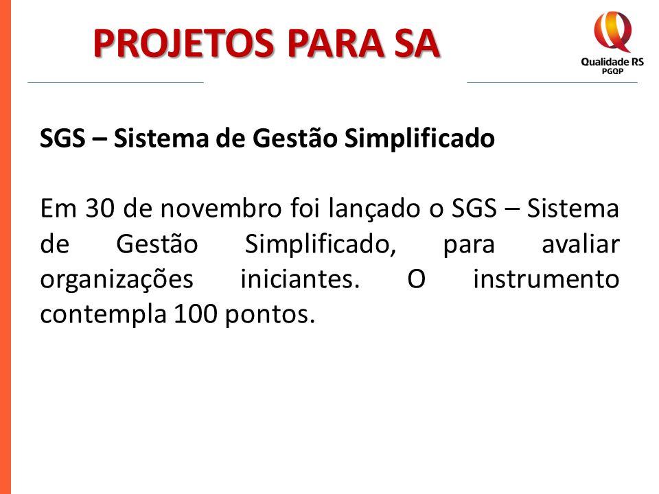 PROJETOS PARA SA SGS – Sistema de Gestão Simplificado Em 30 de novembro foi lançado o SGS – Sistema de Gestão Simplificado, para avaliar organizações