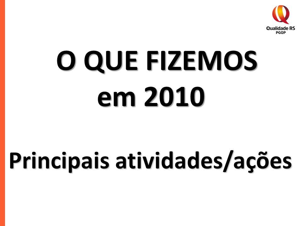 O QUE FIZEMOS em 2010 em 2010 Principais atividades/ações