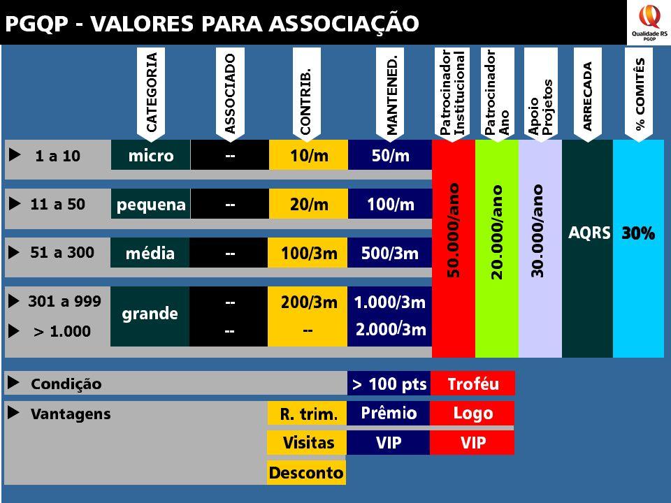 1 a 10 11 a 50 51 a 300 301 a 999 > 1.000 PatrocinadorInstitucional CATEGORIA ASSOCIADO CONTRIB.