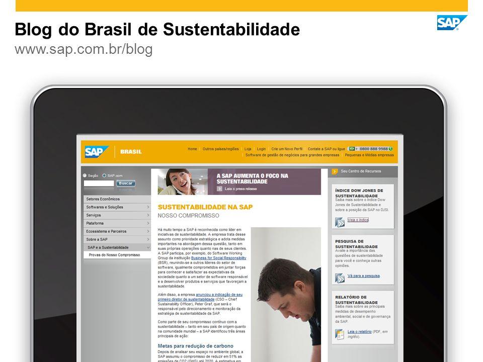 www.sap.com.br/blog Blog do Brasil de Sustentabilidade