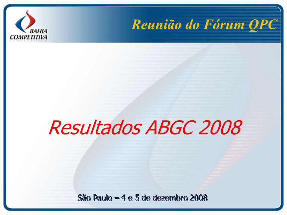 Reunião do Fórum QPC Resultados ABGC 2008 São Paulo – 4 e 5 de dezembro 2008