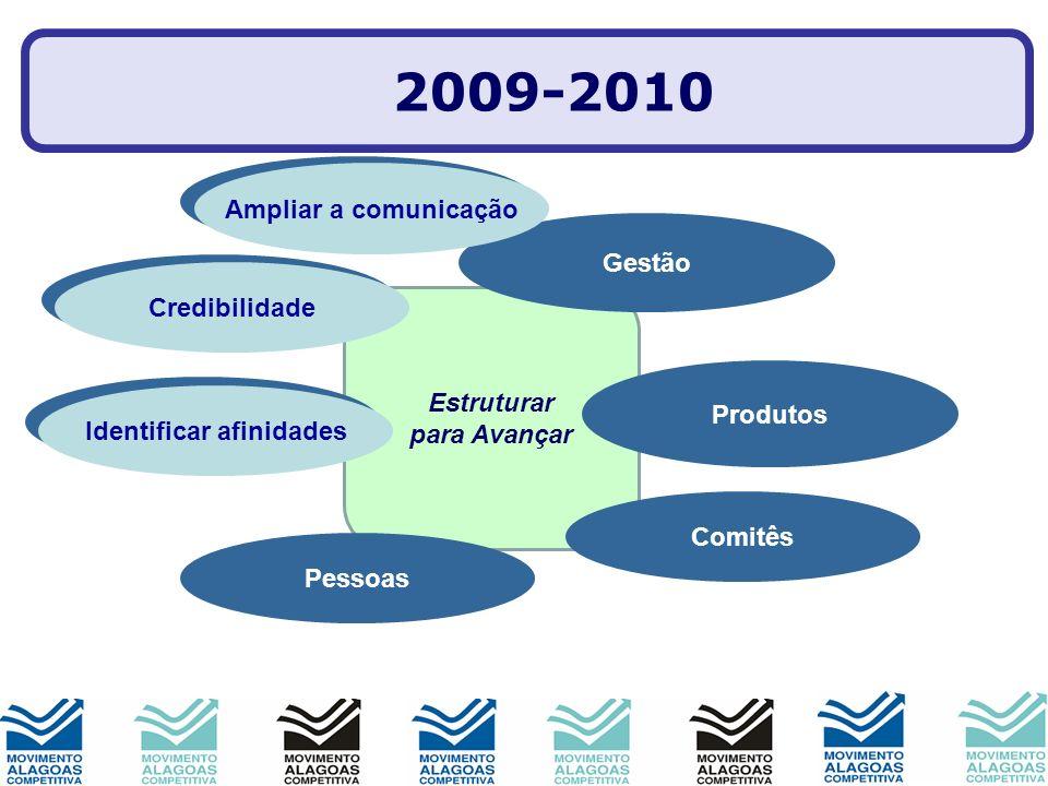 Estruturar para Avançar Imagem Produtos Parcerias Gestão Comitês Pessoas Mobilização 2009-2010 Ampliar a comunicação Credibilidade Identificar afinida