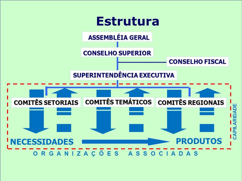 Estrutura ASSEMBLÉIA GERAL ASSEMBLÉIA GERAL CONSELHO SUPERIOR CONSELHO FISCAL SUPERINTENDÊNCIA EXECUTIVA PRODUTOS NECESSIDADES CAPILARIDADE COMITÊS TE
