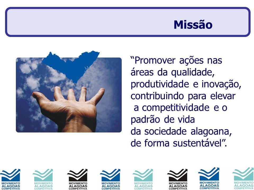 Visão- 2010 Promover ações nas áreas da qualidade, produtividade e inovação, contribuindo para elevar a competitividade e o padrão de vida da sociedade alagoana, de forma sustentável.