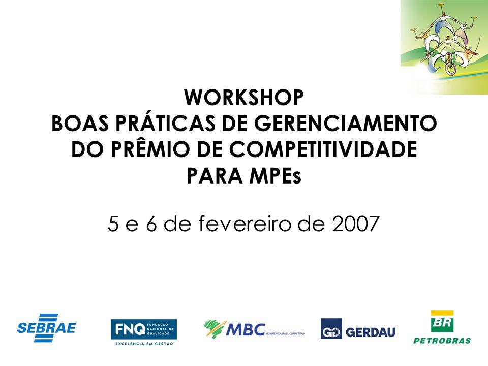 WORKSHOP BOAS PRÁTICAS DE GERENCIAMENTO DO PRÊMIO DE COMPETITIVIDADE PARA MPEs 5 e 6 de fevereiro de 2007