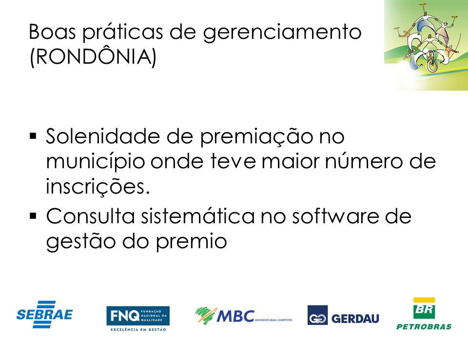 Boas práticas de gerenciamento (RONDÔNIA) Solenidade de premiação no município onde teve maior número de inscrições. Consulta sistemática no software