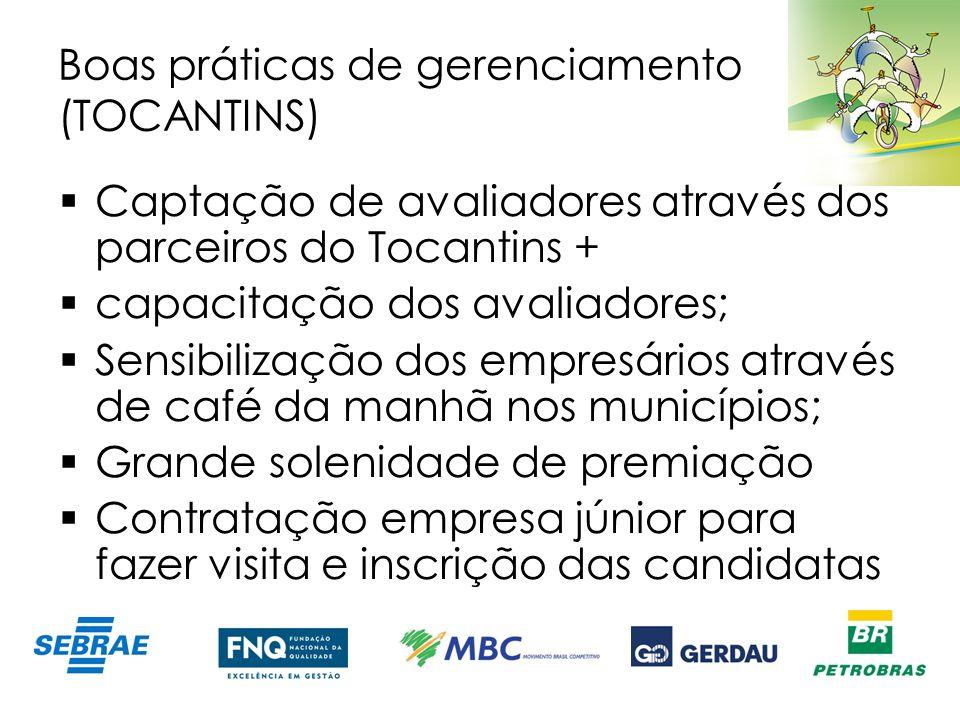 Boas práticas de gerenciamento (TOCANTINS) Captação de avaliadores através dos parceiros do Tocantins + capacitação dos avaliadores; Sensibilização do