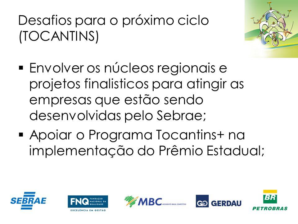 Desafios para o próximo ciclo (TOCANTINS) Envolver os núcleos regionais e projetos finalisticos para atingir as empresas que estão sendo desenvolvidas