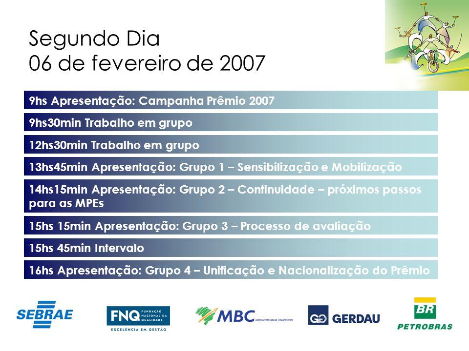 Segundo Dia 06 de fevereiro de 2007 9hs Apresentação: Campanha Prêmio 2007 9hs30min Trabalho em grupo 13hs45min Apresentação: Grupo 1 – Sensibilização