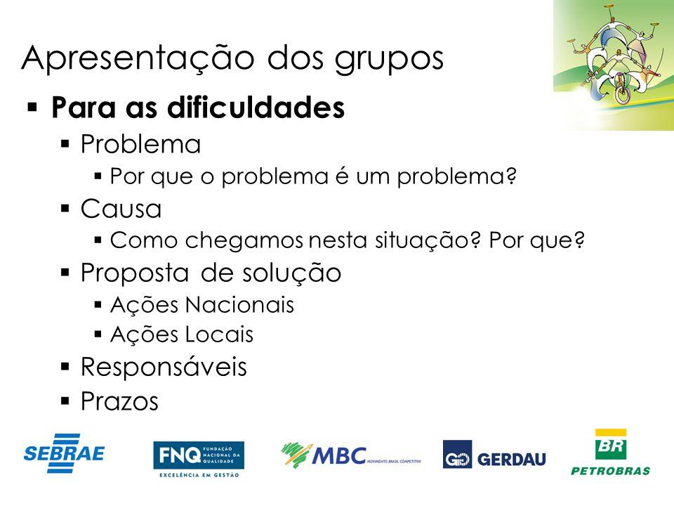 Apresentação dos grupos Para as dificuldades Problema Por que o problema é um problema? Causa Como chegamos nesta situação? Por que? Proposta de soluç