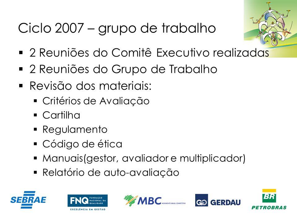 Ciclo 2007 – grupo de trabalho 2 Reuniões do Comitê Executivo realizadas 2 Reuniões do Grupo de Trabalho Revisão dos materiais: Critérios de Avaliação