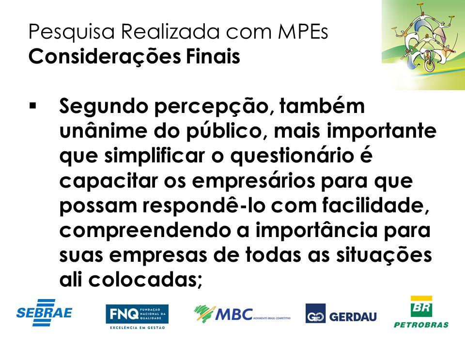 Pesquisa Realizada com MPEs Considerações Finais Segundo percepção, também unânime do público, mais importante que simplificar o questionário é capaci