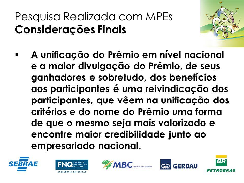 Pesquisa Realizada com MPEs Considerações Finais A unificação do Prêmio em nível nacional e a maior divulgação do Prêmio, de seus ganhadores e sobretu