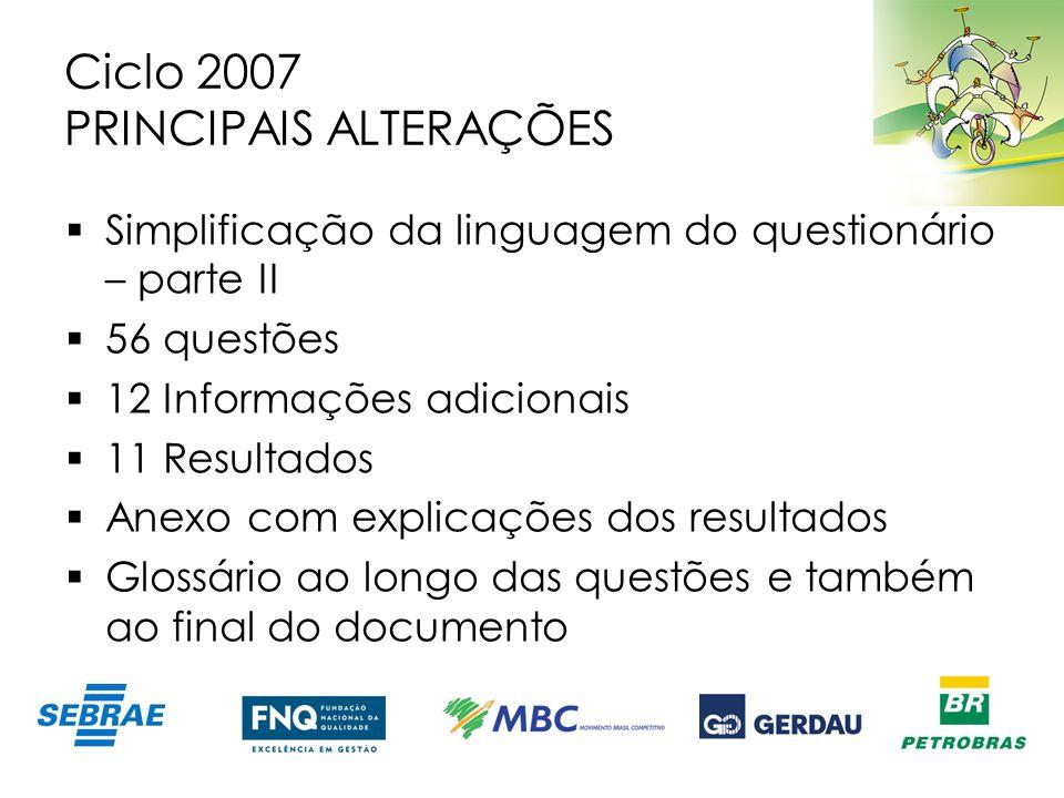 Ciclo 2007 PRINCIPAIS ALTERAÇÕES Simplificação da linguagem do questionário – parte II 56 questões 12 Informações adicionais 11 Resultados Anexo com e
