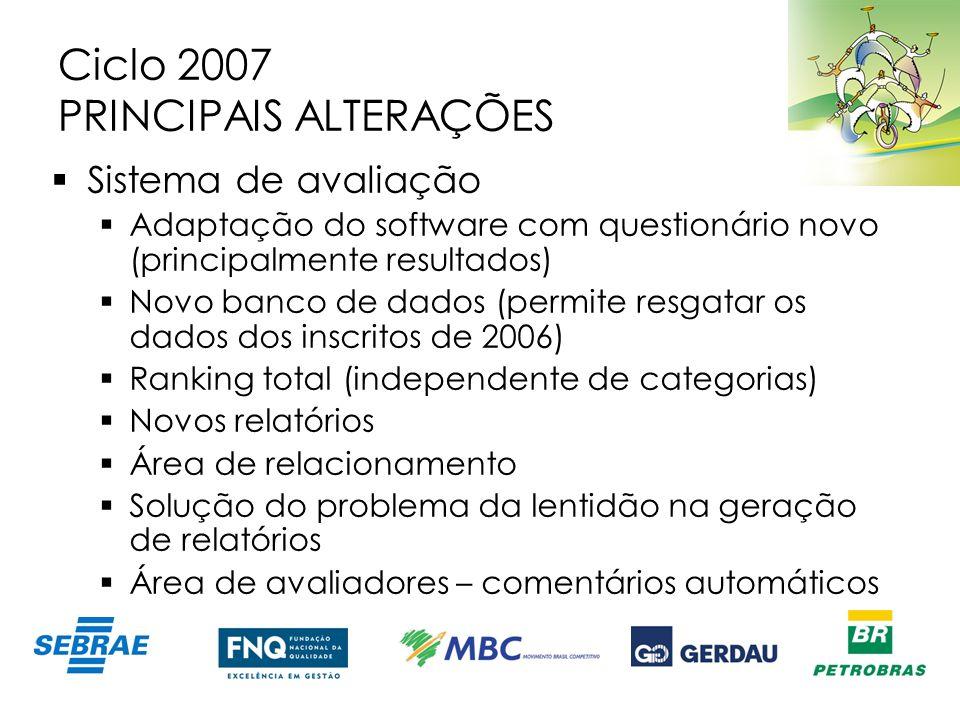 Ciclo 2007 PRINCIPAIS ALTERAÇÕES Sistema de avaliação Adaptação do software com questionário novo (principalmente resultados) Novo banco de dados (per