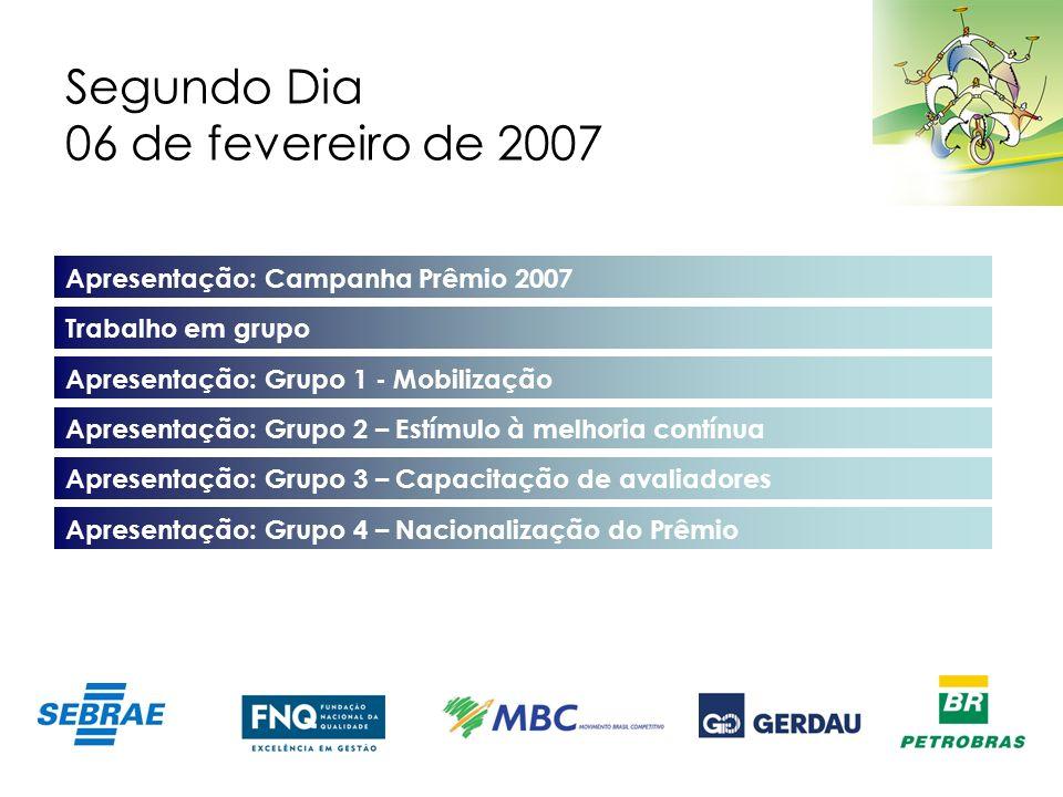 Segundo Dia 06 de fevereiro de 2007 Apresentação: Campanha Prêmio 2007 Trabalho em grupo Apresentação: Grupo 1 - Mobilização Apresentação: Grupo 2 – E