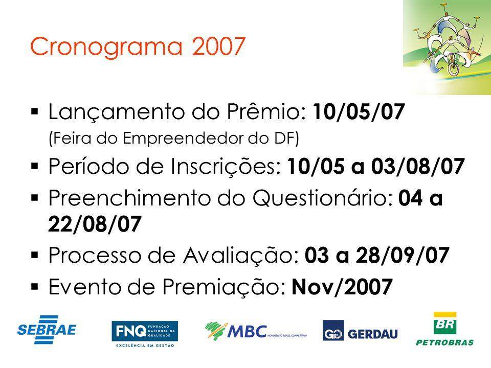 Cronograma 2007 Lançamento do Prêmio: 10/05/07 (Feira do Empreendedor do DF) Período de Inscrições: 10/05 a 03/08/07 Preenchimento do Questionário: 04