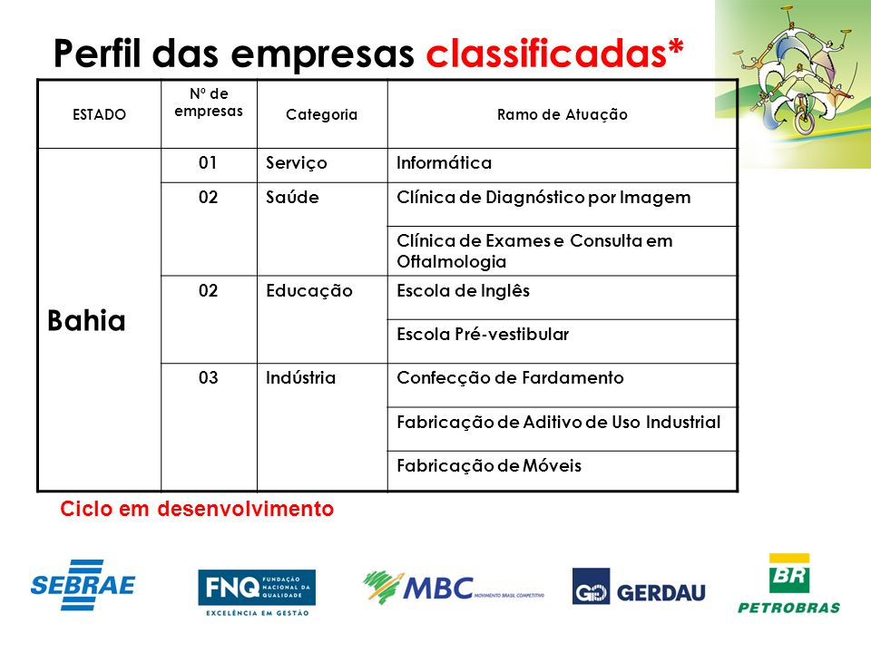 Perfil das empresas classificadas* ESTADO Nº de empresas CategoriaRamo de Atuação Bahia 01ServiçoInformática 02SaúdeClínica de Diagnóstico por Imagem