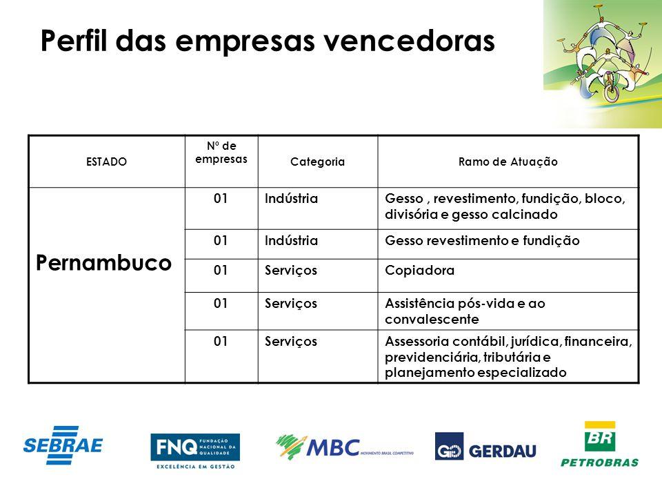 Perfil das empresas vencedoras ESTADO Nº de empresas CategoriaRamo de Atuação Pernambuco 01IndústriaGesso, revestimento, fundição, bloco, divisória e