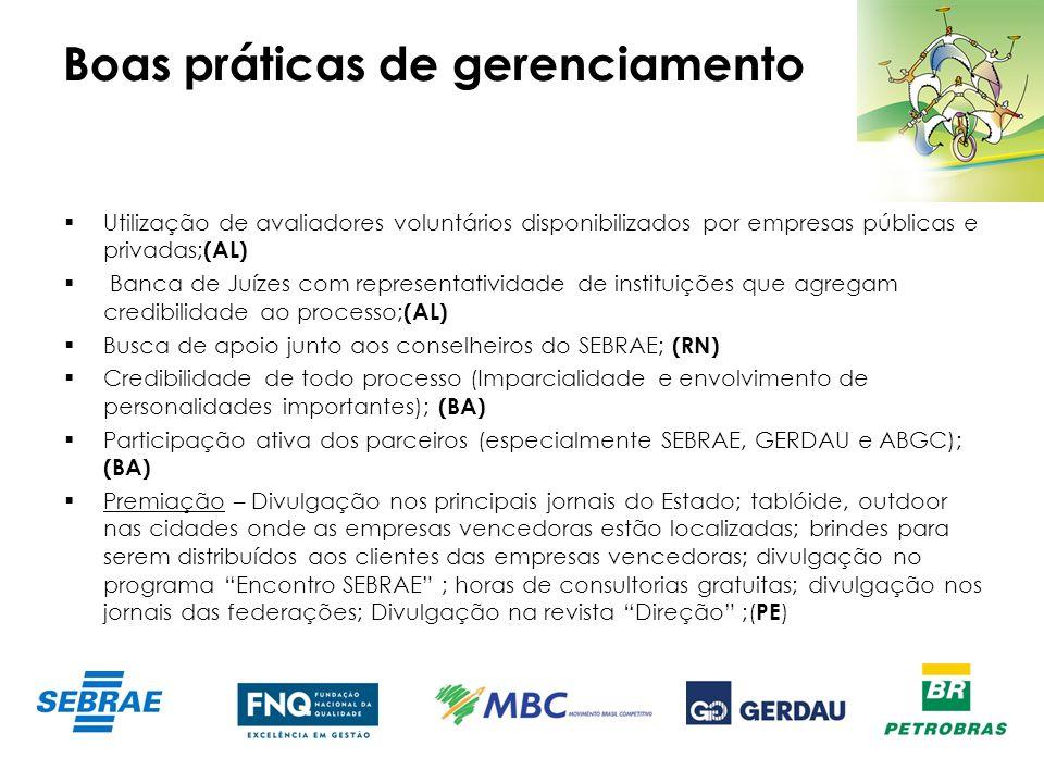 Boas práticas de gerenciamento Utilização de avaliadores voluntários disponibilizados por empresas públicas e privadas; (AL) Banca de Juízes com repre