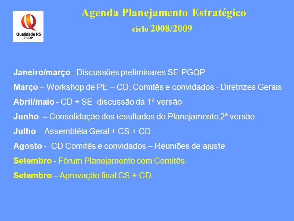 Agenda Planejamento Estratégico ciclo 2008/2009 Janeiro/março - Discussões preliminares SE-PGQP Março – Workshop de PE – CD, Comitês e convidados - Di