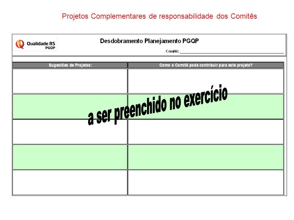 Projetos Complementares de responsabilidade dos Comitês