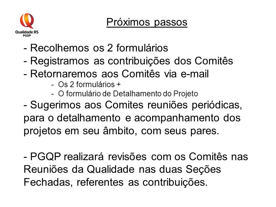 Próximos passos - Recolhemos os 2 formulários - Registramos as contribuições dos Comitês - Retornaremos aos Comitês via e-mail -Os 2 formulários + -O