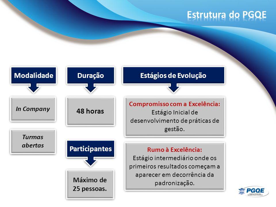 In Company 48 horas Máximo de 25 pessoas. Compromisso com a Excelência: Estágio Inicial de desenvolvimento de práticas de gestão. Modalidade Duração P