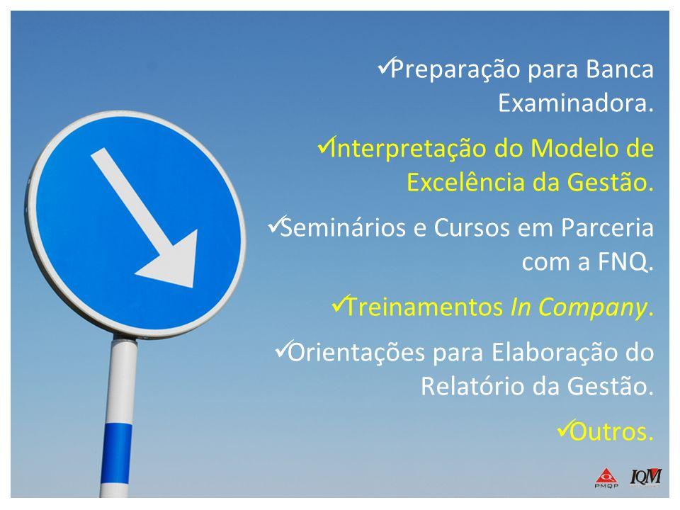 Preparação para Banca Examinadora. Interpretação do Modelo de Excelência da Gestão. Seminários e Cursos em Parceria com a FNQ. Treinamentos In Company