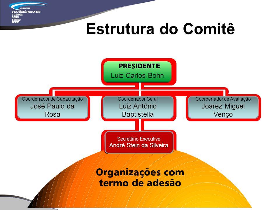 Estrutura do Comitê Coordenador de Capacitação José Paulo da Rosa Coordenador Geral Luiz Antônio Baptistella Coordenador de Avaliação Joarez Miguel Venço Secretário Executivo André Stein da Silveira