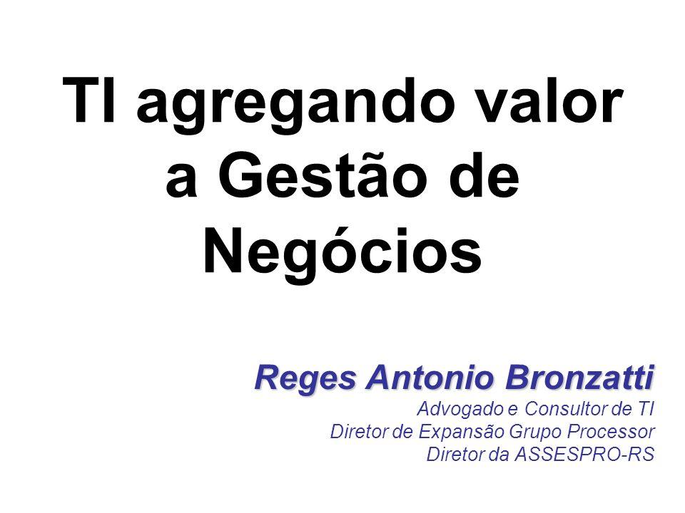 Reges Antonio Bronzatti Advogado e Consultor de TI Diretor de Expansão Grupo Processor Diretor da ASSESPRO-RS TI agregando valor a Gestão de Negócios