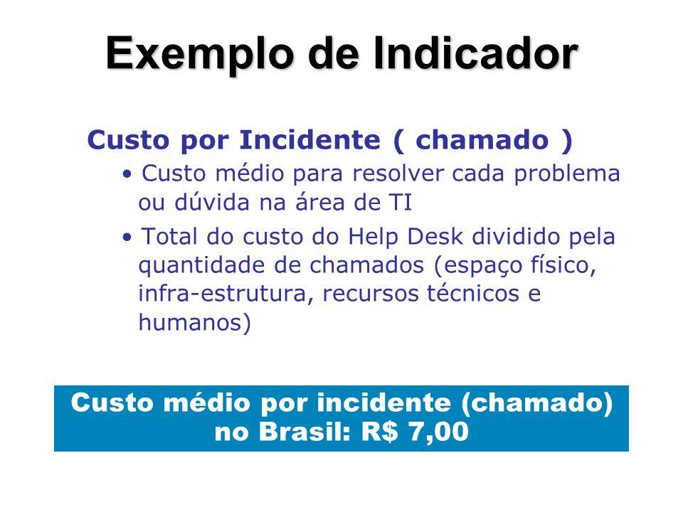 Exemplo de Indicador Tempo para localizar uma informação dentro da empresa.