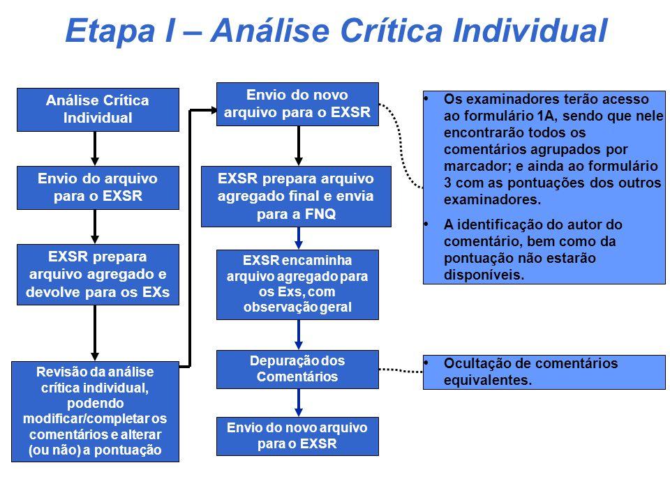 PROCESSO DE AVALIAÇÃO - PNQ 2007 Candidata recebe RA 3. Preparação do RA de Etapa I 3. Preparação do RA de Etapa I ÑOK 1. Análise Crítica Individual 1