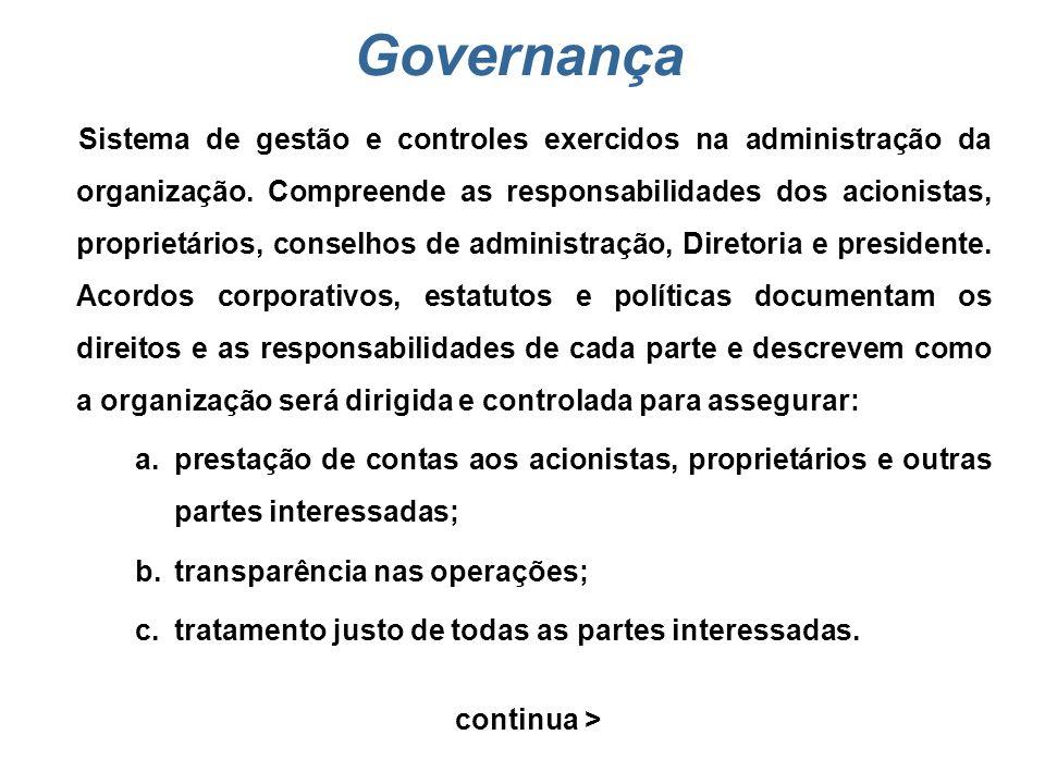 Partes interessadas Indivíduo ou grupo de indivíduos com interesse comum no desempenho da organização e no ambiente em que opera. A maioria das organi