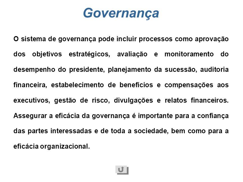 Governança Sistema de gestão e controles exercidos na administração da organização. Compreende as responsabilidades dos acionistas, proprietários, con