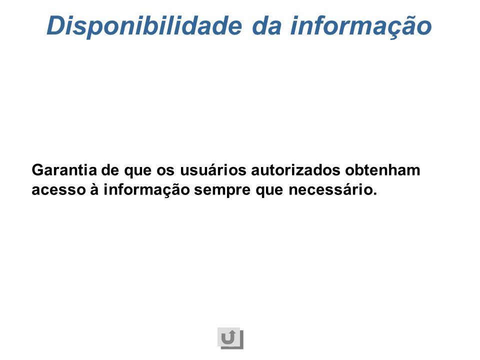 Integridade da informação Aspecto relacionado à segurança das informações que trata da salvaguarda da exatidão e completeza da informação e dos método