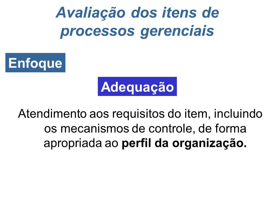 O fator Enfoque refere-se ao grau em que as práticas de gestão da organização apresentam: Enfoque Avaliação dos itens de processos gerenciais Adequaçã
