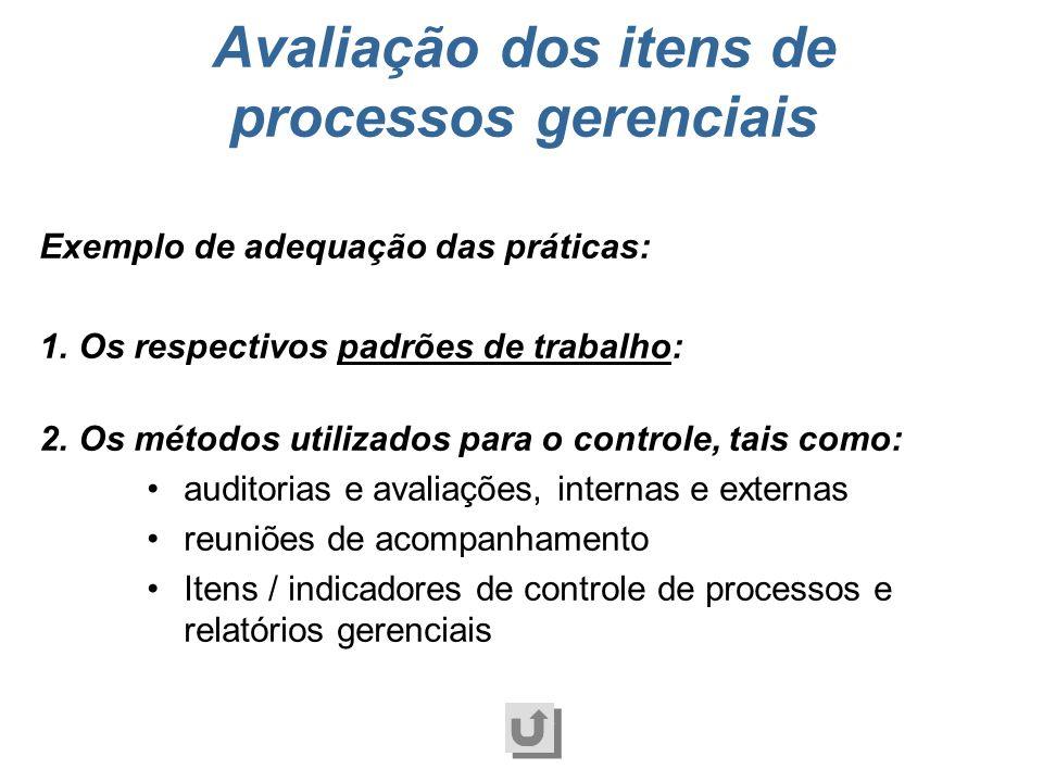 Atendimento aos requisitos do item, incluindo os mecanismos de controle, de forma apropriada ao perfil da organização. Adequação Avaliação dos itens d