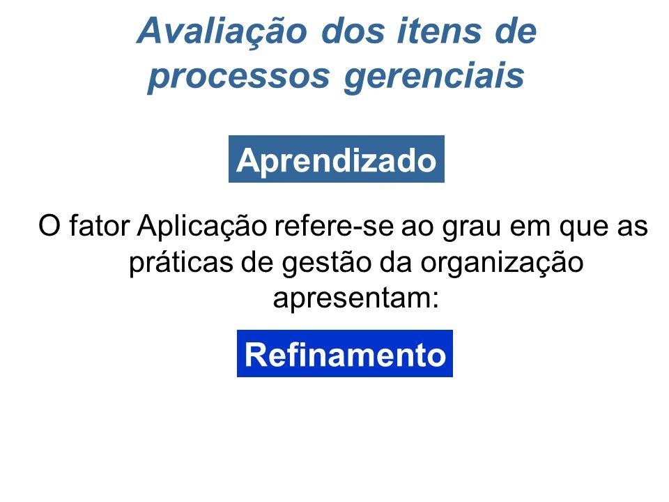 Utilização periódica e ininterrupta das práticas de gestão Continuidade Avaliação dos itens de enfoque e aplicação Aplicação