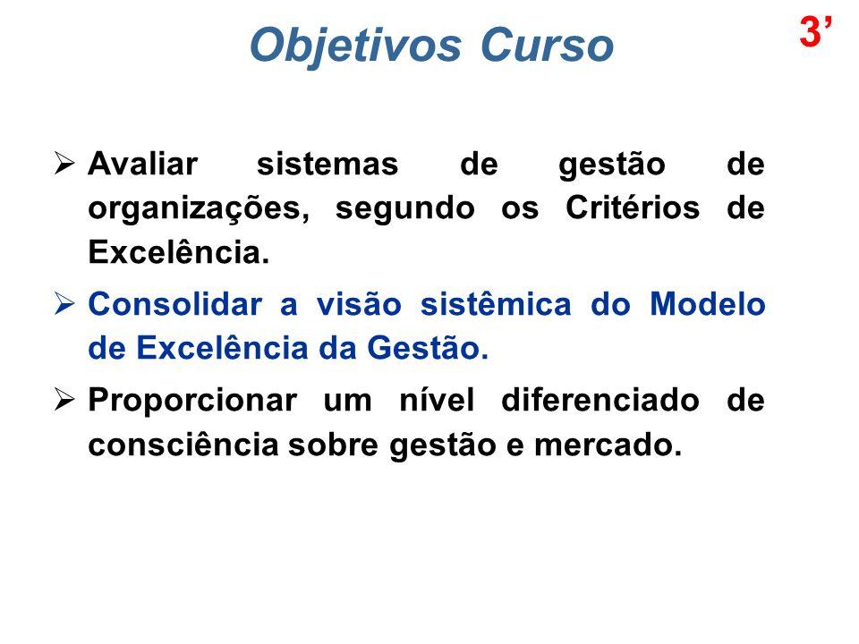 Objetivos Curso Avaliar sistemas de gestão de organizações, segundo os Critérios de Excelência.