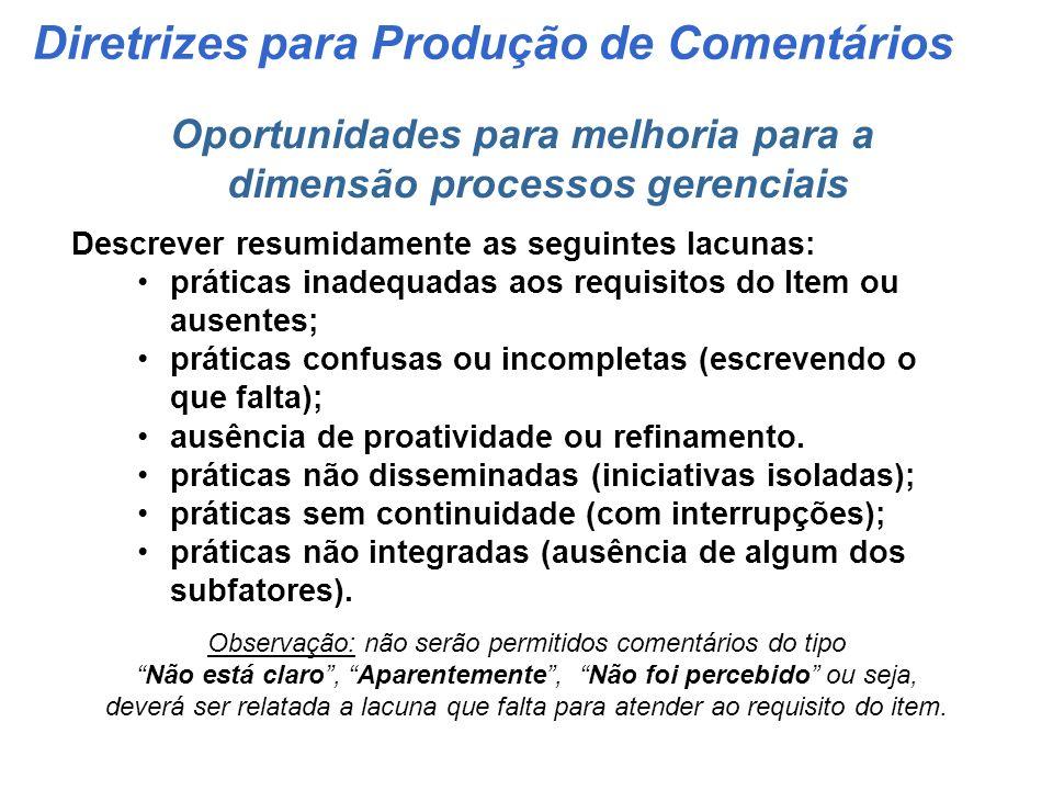 Diretrizes para Produção de Comentários Pontos fortes para a dimensão processos gerenciais Apresentar a prática de gestão, destacando os subfatores de